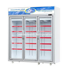 3 doors glass door freezer with