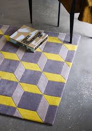 geometric geo07 rugs in yellow grey