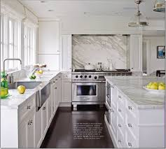 vintage kitchen design with white carrera marble countertops