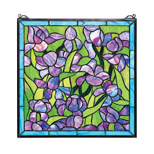 design toscano saint remy irises glass stained glass