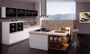 kitchen modern island. Modern Kitchen Island With Seating, Open Shelving And A Butcher Block Table