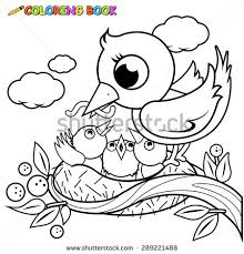 Small Picture Cute Bird On Tree Branch Singing Stock Illustration 597076046