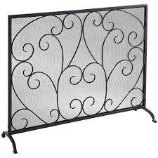 decorating fascinating fireplace with single panel fireplace screen