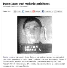Duane Sutton , U. S. Army Special Forces , POSER , Blog of Shame  