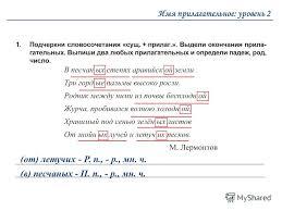 Презентация на тему Контрольная работа Имя прилагательное  6 Имя прилагательное уровень 2 от летучих Р п р мн ч в песчаных П п р мн ч