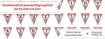 Printable Chevron Letters Maroon Chevron Pennant Flag Letters Download Printable