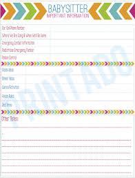 babysitter information sheet printable information for babysitter delli beriberi co