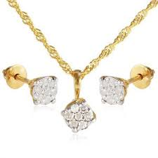 vera perla 18k solid gold 0 21ct genuine diamond solire pendant necklace earring set
