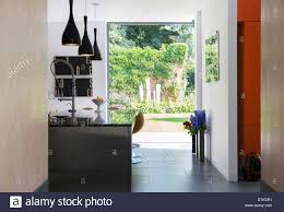 Garden Kitchen Windows View Of Garden Through Modern Kitchen Window Stock Photo Royalty