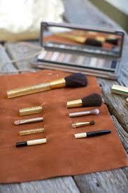 diy leather roll makeup brush holder