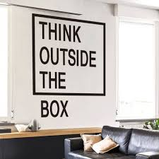 outside the box office. Think Outside The Box Wall Quotes Decals Office Art Creative Sticker - Iwallsticker.com