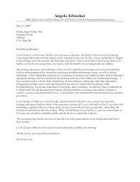 Sample Cover Letter For Psychology Job Granitestateartsmarket Com