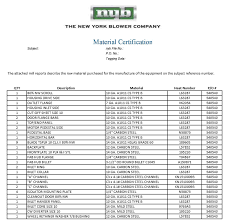 Material Certification New York Blower Company