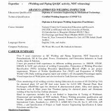 Weld Inspector Cover Letter Drilling Resume For Welding Inspector Qc