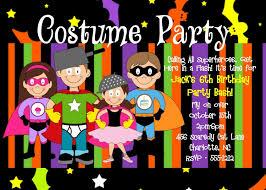Superhero Costume Party Halloween Birthday Invitations For Boys And Girls