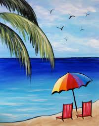 a day at the beach painting idea