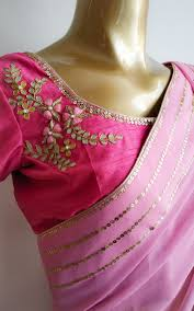 Gota Patti Saree Blouse Designs Light Pink Sequins Border Saree With Gota Patti Blouse In