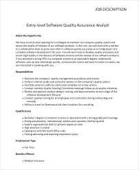 entry level software quality assurance analyst job description benefits analyst job description