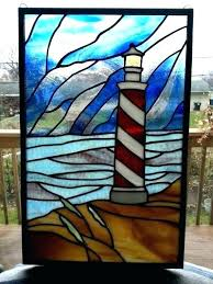 nautical stained glass patterns rns stain lighthouse panel by on designs pattern book