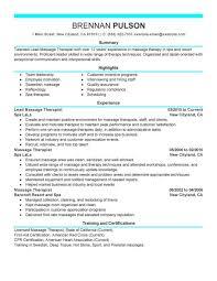 resume massage therapist resume examples new massage therapist resume examples