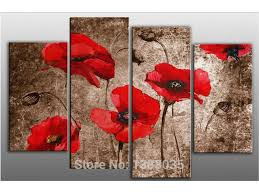red poppy flowers hand painted oil on canvas art set modern abstract painting wall picture for