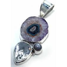 more views gemstone silver pendant