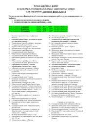 Темы курсовых работ по истории государства и права Темы курсовых работ для студентов заочного факультета