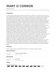 Licensed Psychologist Sample Resume Interesting Clinical Psychologist Resume Samples VisualCV Resume Samples Database