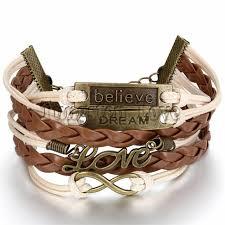 women fashion vintage leather bracelet infinity love believe dream multilayer charm bracelets girl gift brown color