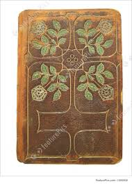 old book cover fancy tooled leather book cover with copy space for title