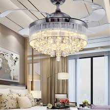 2018 36 inch 42 inch led ceiling fans light 110 240v invisible blades ceiling fans modern fan lamp living room european chandelier ceiling light from ok360