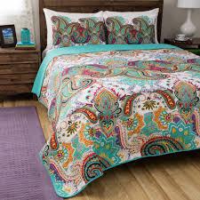 king size bohemian paisley reversible green multicolor cotton 3 piece quilt set