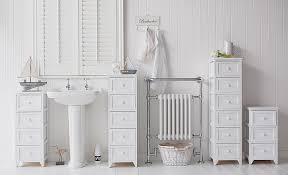 Maine Narrow Freestanding Bathroom Cabinet With Drawers For Storage