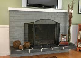 roman brick fireplace hearth ideas gray painted brick fireplace after being painted
