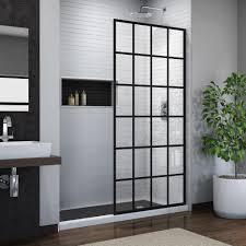Pictures of shower doors Neo Angle Frameless Fixed Shower Door In Satin Black Wayfair Dreamline French Linea Toulon 34 In 72 In Frameless Fixed Shower