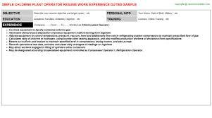 Chlorine Plant Operator Resume Resumes Templates