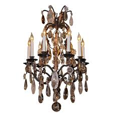 french wrought iron and rock crystal chandelier for