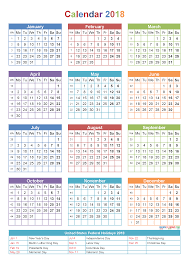 printable yearly calendar 2018 with holidays template calendar