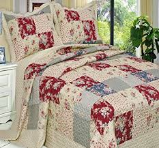 26 best Vintage Bedding images on Pinterest   Bed linen, Bedding ... & Quilt Coverlet Set Over Sized King/Cal King French Country Flowers Floral  Patchwork Pattern Wrinkle Adamdwight.com