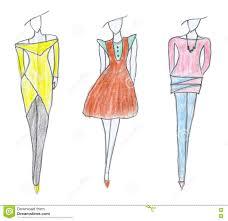Clothes Design Sketch Model Dress Sketch Business Fashion Style Stock Illustration