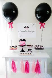 Pink And Black Minnie Mouse Decorations Minnie Mouse Bowtique Birthday Party Project Nursery