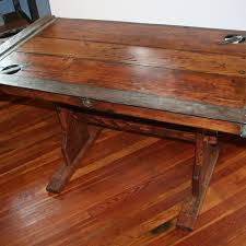 desk hatch cover with steel edges on three sides 56 x 30 wood trestle base cover desk
