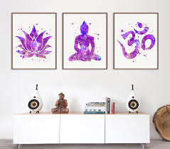 purple color buddhist wall art beautiful zen decorations buddha interior hanging wooden canvas framed decors