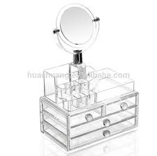 whole acrylic makeup organizer with drawers market cosmetic display storage bo mirror