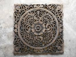 Wood Carved Wall Decor Lotus Wood Carving Plaque Oriental Decor Siam Sawadee