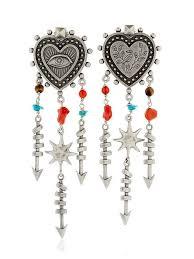 valentino santeria heart chandelier earrings multi silver women fashion jewelry valentino sandals valentino garavani 100 top quality