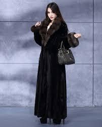 full length mink fur coat with sable fur collar