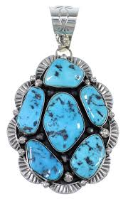 native american sterling silver and sleeping beauty turquoise pendant wx72568