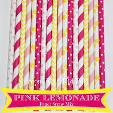 Pink Lemonade Designs Us 11 44 12 Off 150pcs Mixed 6 Designs Pink Lemonade Themed Paper Straws Light Pink Deep Pink Yellow Striped Polka Dot Chevron Drinking Straws In