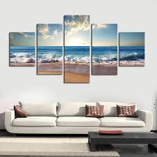 5 piece canvas prints. Fine Prints 5 Piece Blue Sky Beach Scene Canvas Print To Prints C